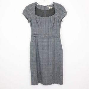 Banana Republic Stretch Grey Plaid Dress